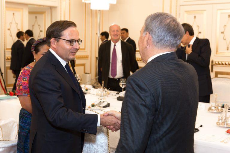 Fabien Baussart with N. Nazarbaeiev, first President of Kazakhstan.
