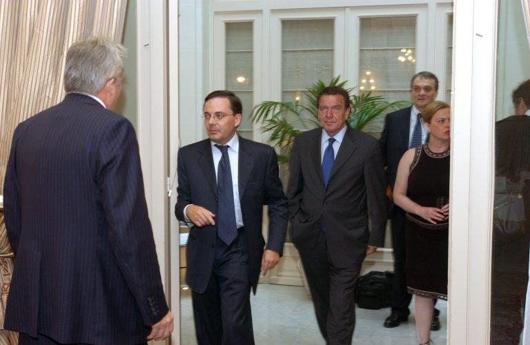 Fabien Baussart with Gerhard Schroder, former German Chancellor.