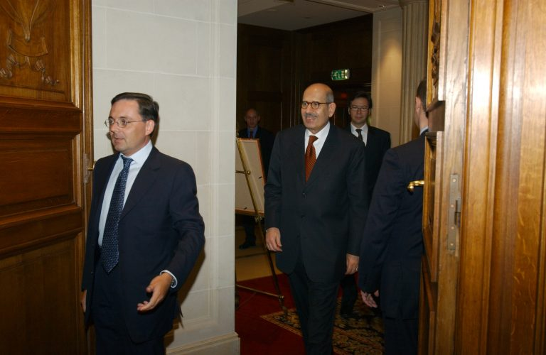 Fabien Baussart with Mohamed El Baradai, Director General of the IAEA.