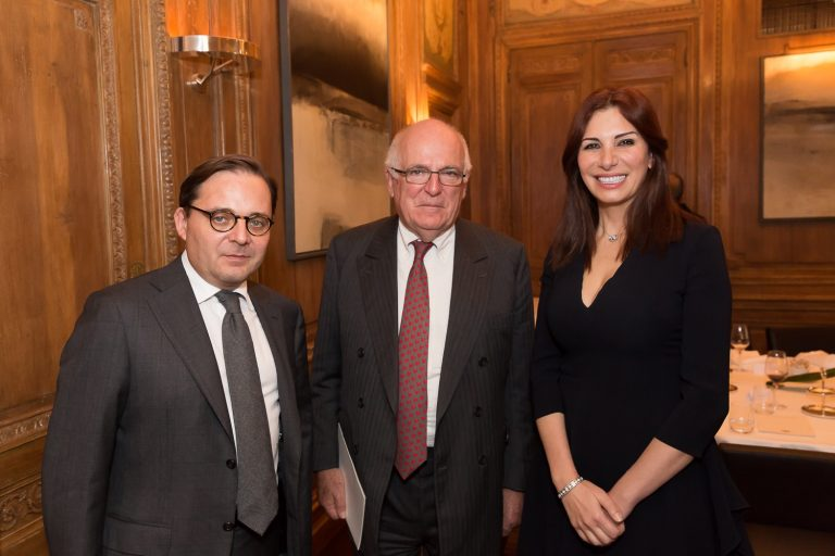 Fabien Baussart with Richard Dearlove, former Head of MI6 and Randa Kassis.