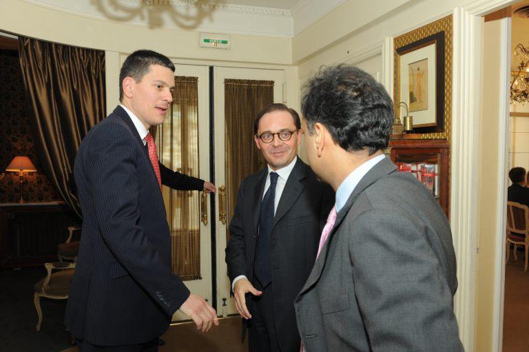 Fabien Baussart with David Miliband, former U.K FM.