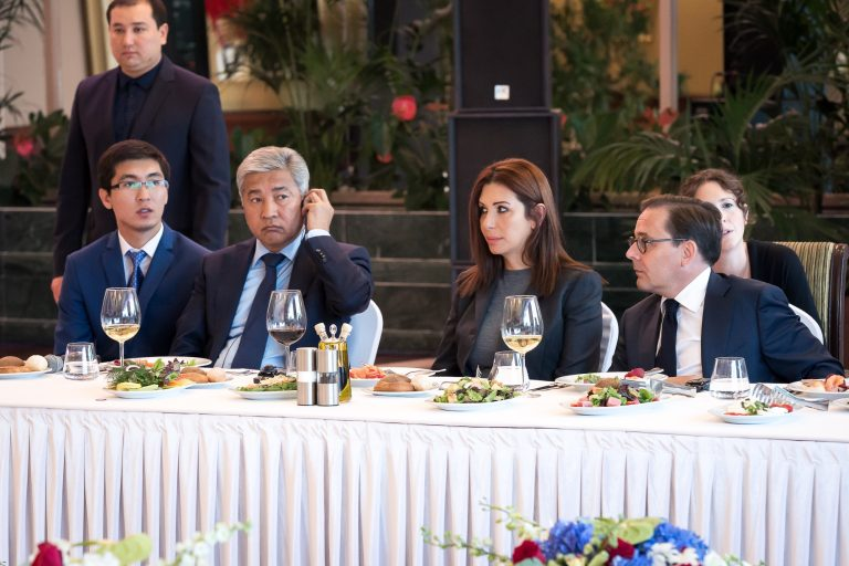 Official lunch hosted by the Kazakh Minister of Defense, Imangali Tasmagambedov, with Fabien Baussart and Randa Kassis.