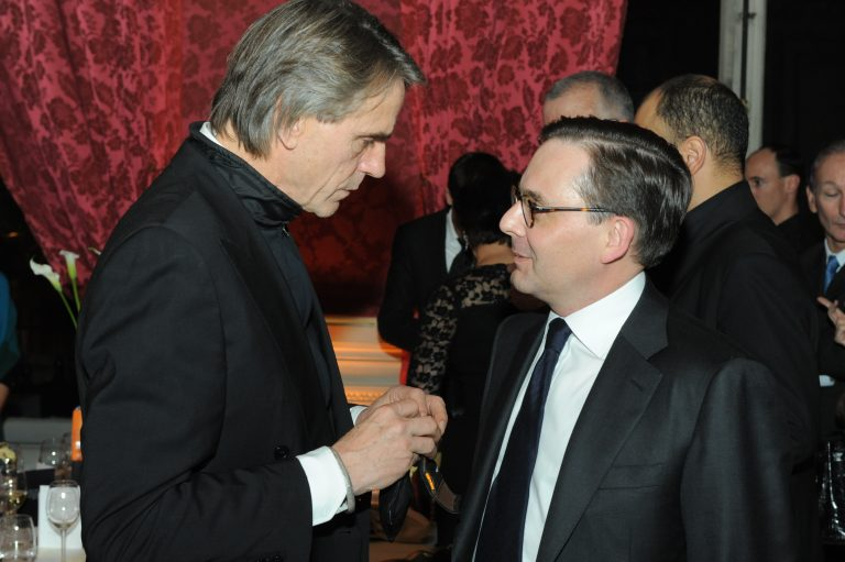 Fabien Baussart with Jeremy Irons at CPFA event.