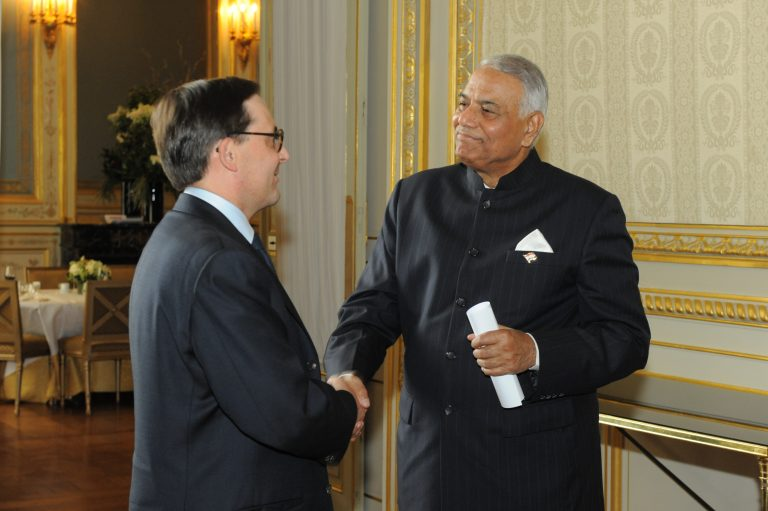 Fabien Baussart with Yashwant Sinha, former Indian Minister of Finance.