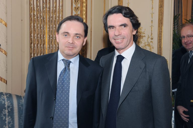 Fabien Baussart with José Maria Aznar, former PM of Spain.