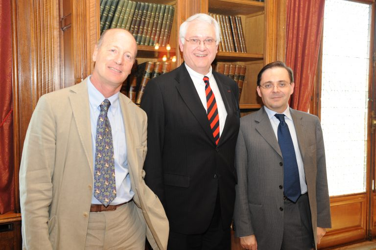 Fabien Baussart with John Hamre, former U.S. Deputy Secretary of Defense and French journalist Renaud Girard.