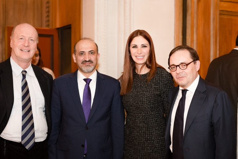 Fabien Baussart with Randa Kassis, Syrian President of Astana Political platform, Ahmed Jarba, Syrian former President of SNC and French journalist Renaud Girard..