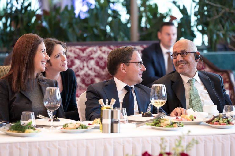 Fabien Baussart with Mohamed El Baradai, former Director General of the IAEA and Randa Kassis.