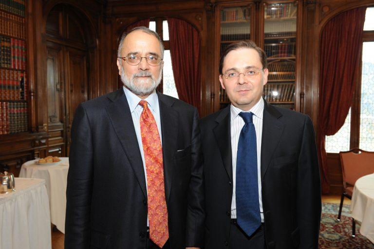 Fabien Baussart with Pakistani investigative journalist Ahmed Rashid.