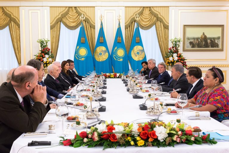 Official lunch hosted by N. Nazarbaeiev, President of Kazakhstan, with Fabien Baussart and Randa Kassis.