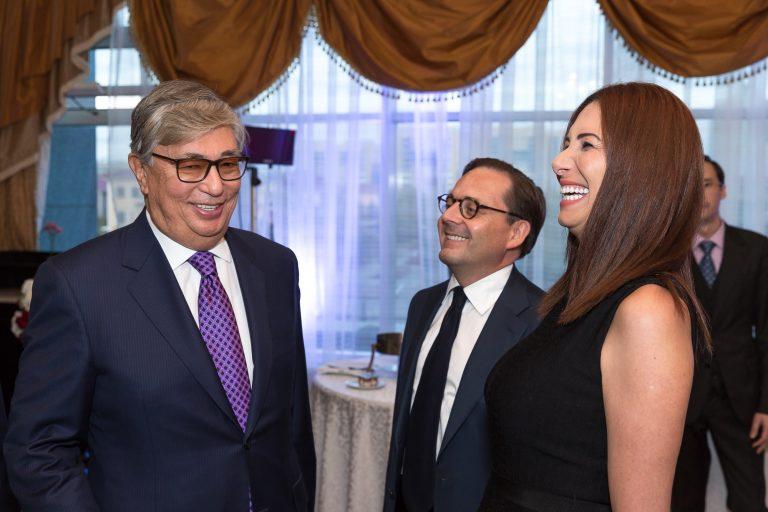 Fabien Baussart with Kassym-Jomart Tokayev, President of Kazakhstan, and Randa Kassis.