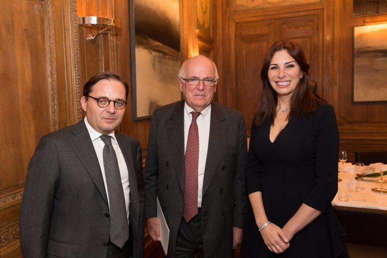 Fabien Baussart with Richard Dearlove, former Head of MI6 and Randa Kassis.