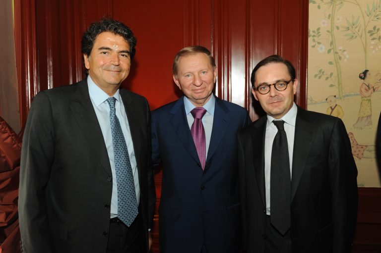 Fabien Baussart with Leonid Kutchma, former Ukranian President and Pierre Lellouche, former French Secretary of State.