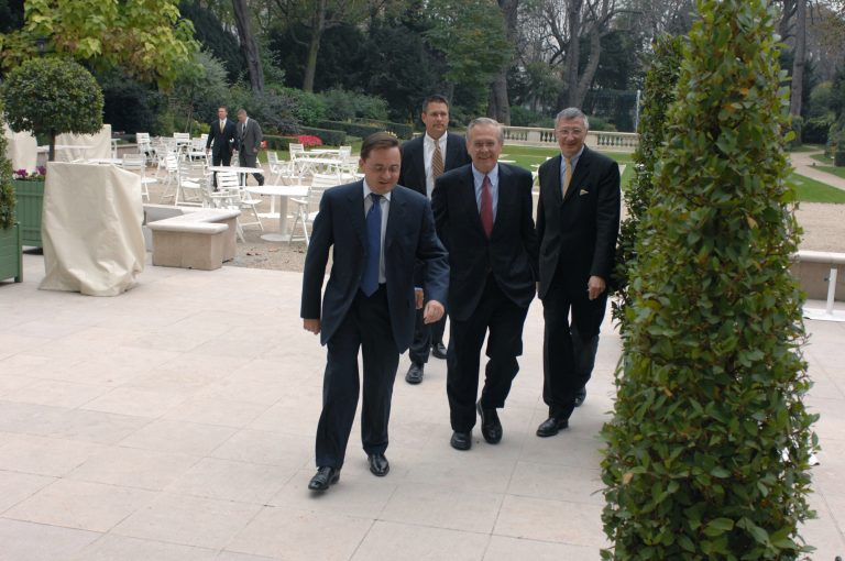 Fabien Baussart with Donald Rumsfeld, former U.S. Secretary of Defense.