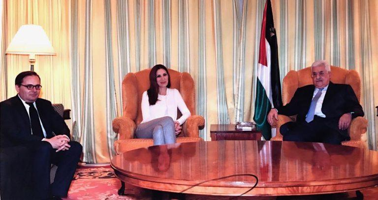 Fabien Baussart with Mahmoud Abbas, President of Palestinian Authority, and Randa Kassis.